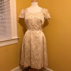 Vintage Cream & Gold Floral Brocade Cocktail Dress